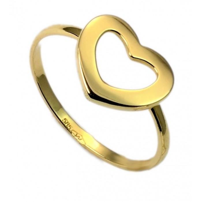 Pierścionek złoty - serce kontur
