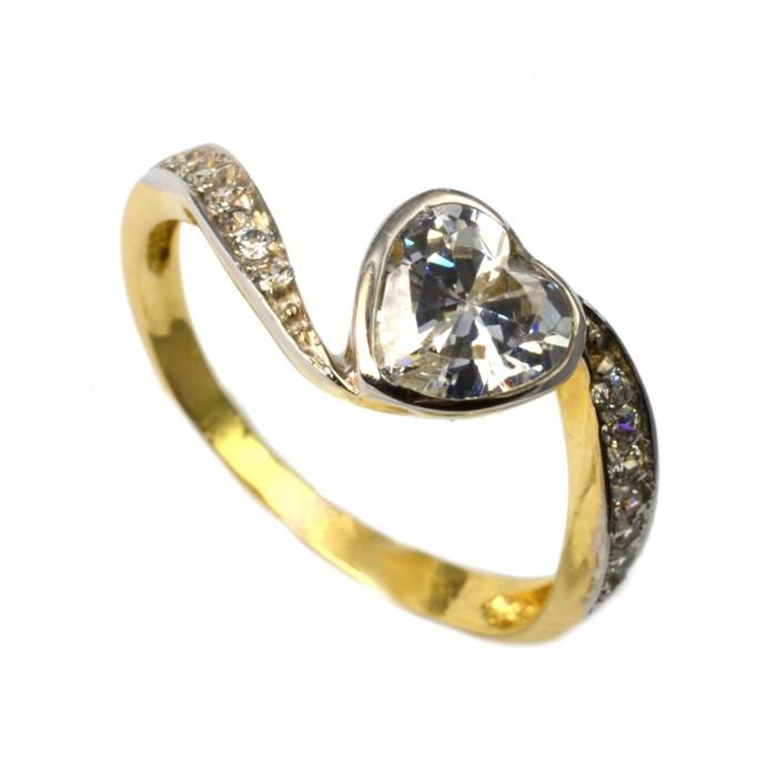 Pierścionek złoty - serce z cyrkoniami