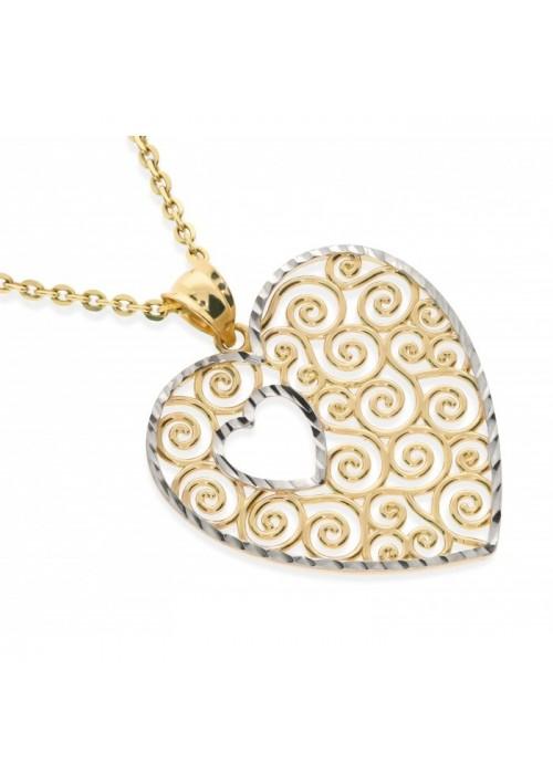 Zawieszka złota pr. 585 - serce ażurowe bikolor