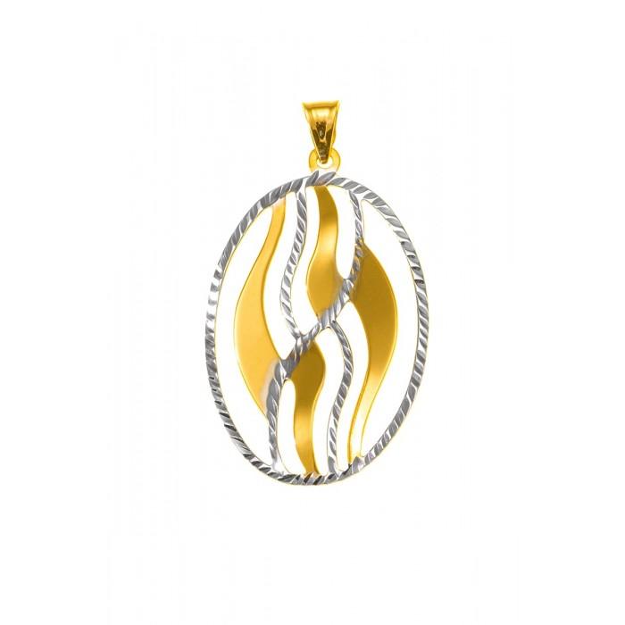 Zawieszka złota pr. 585 - owalna, ażurowa