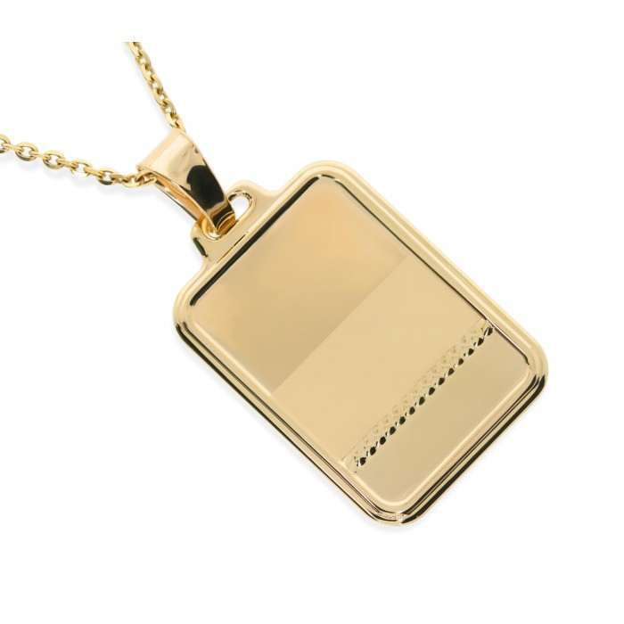 Zawieszka złota pr. 585 - blaszka z matowym polem